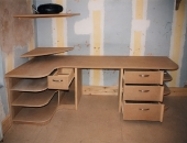 Students workstation desk in MDF with pc enclosure monitor shelf drawers and shelving