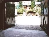 Classical garage doors showing bracing to keep the doors square