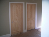 Yellow pine bedroom doors replacing scruffy old painted existing