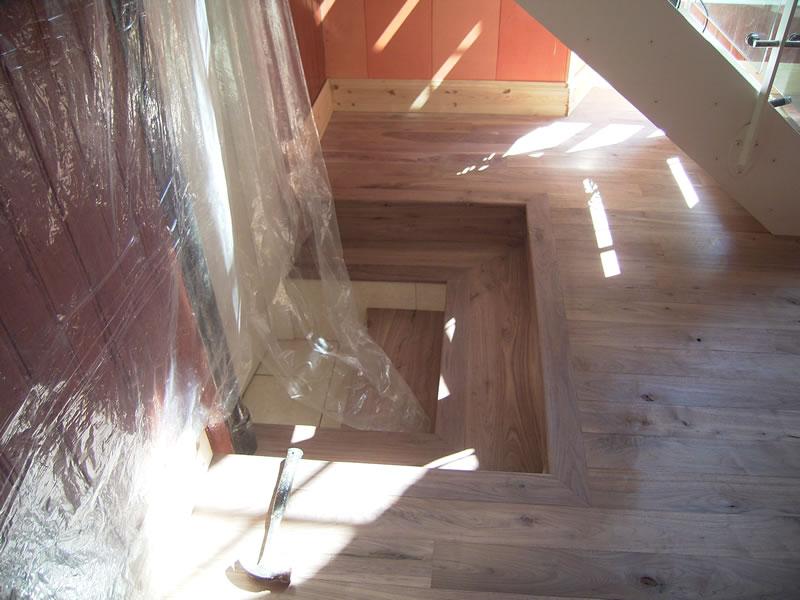 mitred-black-american-walnut-steps-to-washroomdetail