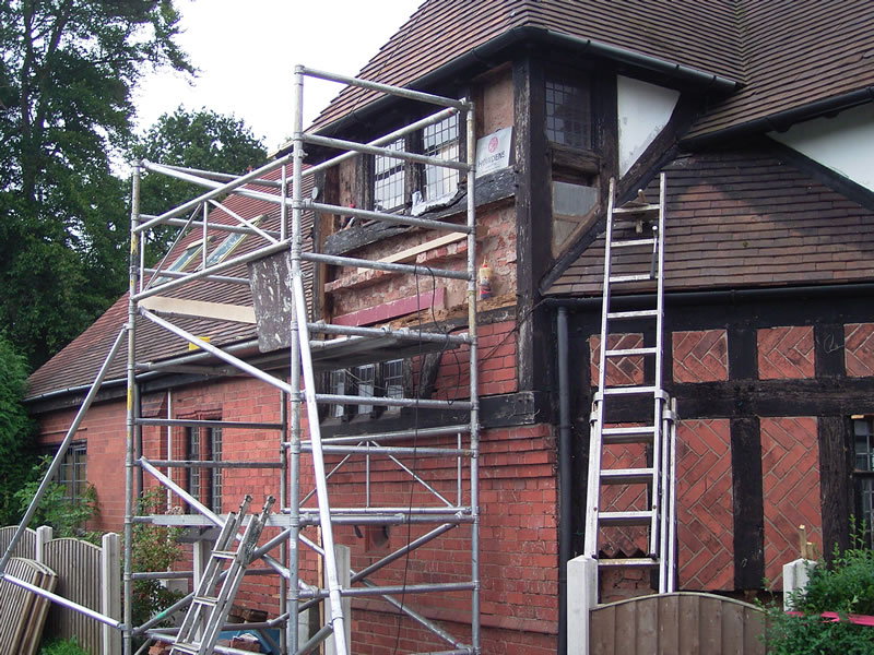 structural repairs as timber frame is removed