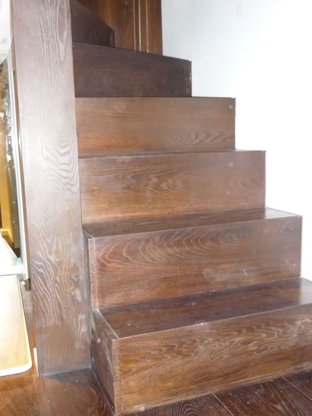 Baked oak wine cellar stairs finished in osmo floor oil