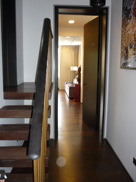 Cantilever stairs and baked oak flooring