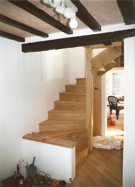 Oak spiral stairs finished with water based varnish
