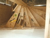Ariel veiw of oak spiral stairs under construction