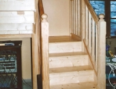 Completed lower section of yellow pine staircase