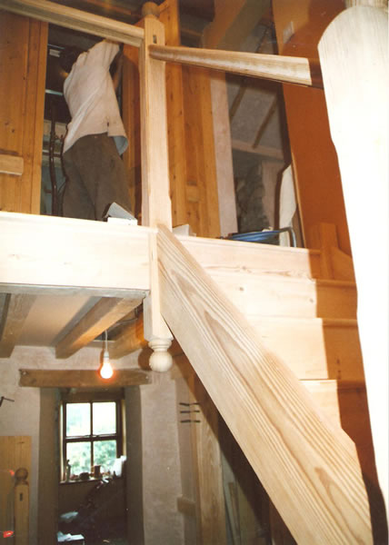 Yellow pine staircase during assembly