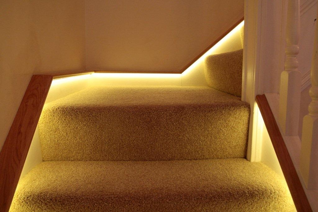 Close up picture of the LED\'s, an effective way to modernise a staircase