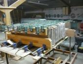 Cramping stair treads in workshop