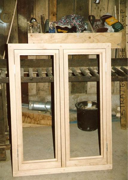 Oak casement window in workshop